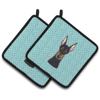 Doberman Pinscher Pot Holders - Blue (Pair)