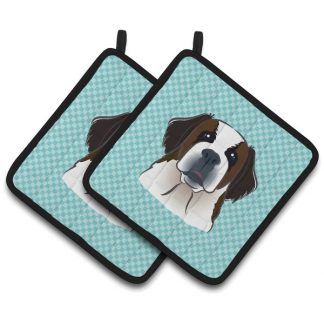 Saint Bernard Pot Holders - Blue (Pair)