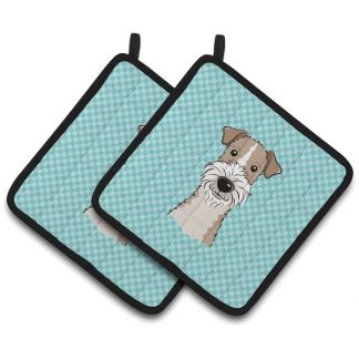 Wire Fox Terrier Pot Holders - Blue (Pair)