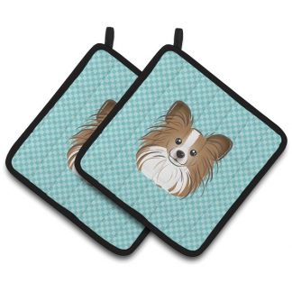 Papillon Pot Holders - Blue (Pair)