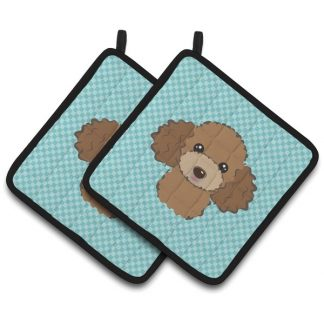 Chocolate Poodle Pot Holders - Blue (Pair)