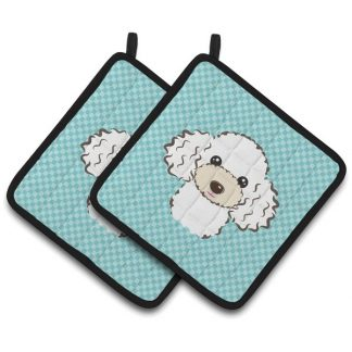 White Poodle Pot Holders - Blue (Pair)