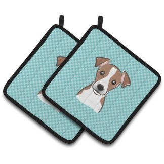 Jack Russell Terrier Pot Holders - Blue (Pair)