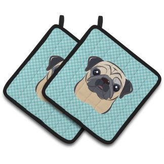 Pug Pot Holders - Blue (Pair)