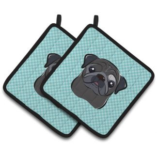 Pug Pot Holders (Black) - Blue (Pair)
