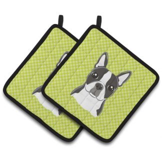 Boston Terrier Pot Holders - Green (Pair)