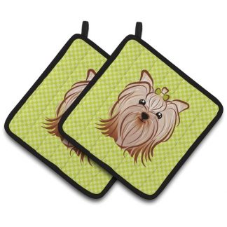 Yorkshire Terrier Pot Holders - Green (Pair)