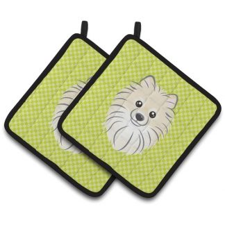 Pomeranian Pot Holders - Green (Pair)