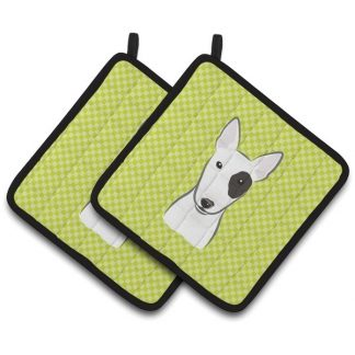 Bull Terrier Pot Holders - Green (Pair)