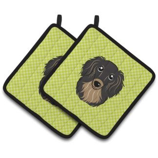 Longhaired Dachshund Pot Holders (Black Tan) - Green (Pair)