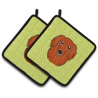 Longhaired Dachshund Pot Holders (Red) - Green (Pair)