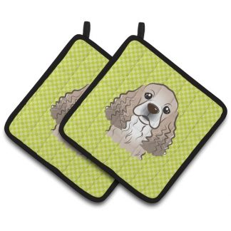 Cocker Spaniel Pot Holders - Green (Pair)