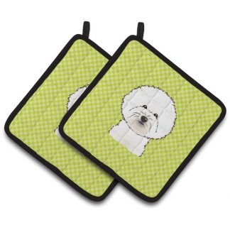 Bichon Frise Pot Holders - Green (Pair)