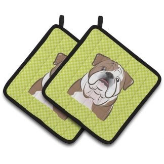 Bulldog Pot Holders - Green (Pair)