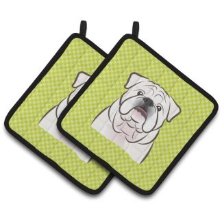 Bulldog Pot Holders (White) - Green (Pair)