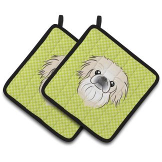 Pekingese Pot Holders - Green (Pair)