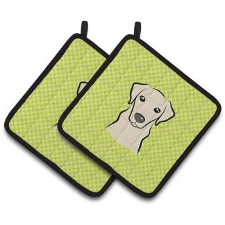 Yellow Lab Pot Holders - Green (Pair)
