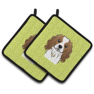 Cavalier Spaniel Pot Holders - Green (Pair)