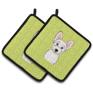 West Highland Terrier Pot Holders - Green (Pair)