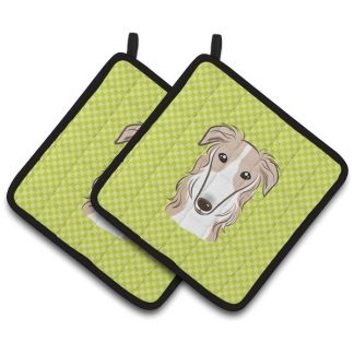 Borzoi Pot Holders - Green (Pair)