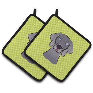Weimaraner Pot Holders - Green (Pair)