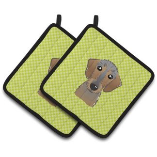 Wirehaired Dachshund Pot Holders - Green (Pair)