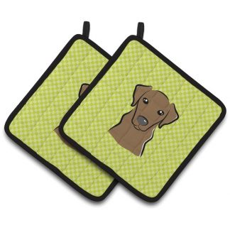 Chocolate Lab Pot Holders - Green (Pair)