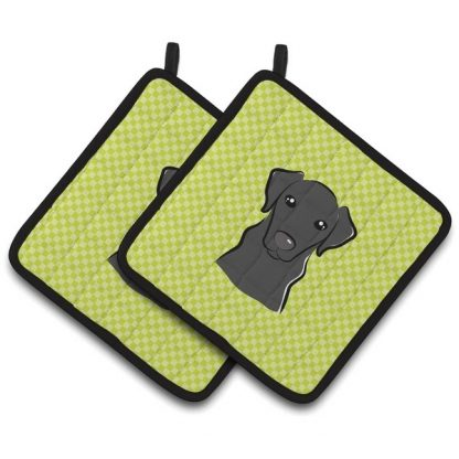 Black Lab Pot Holders - Green (Pair)
