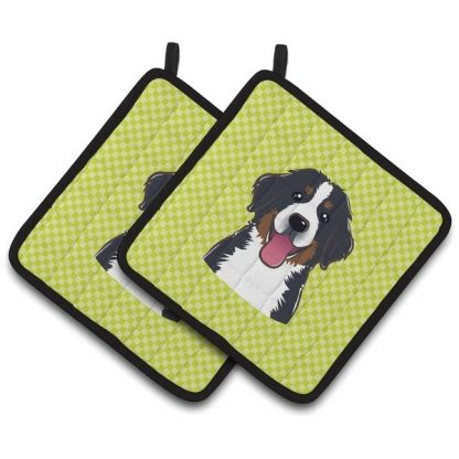 Bernese Mountain Dog Pot Holders - Green (Pair)
