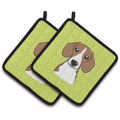 Beagle Pot Holders - Green (Pair)