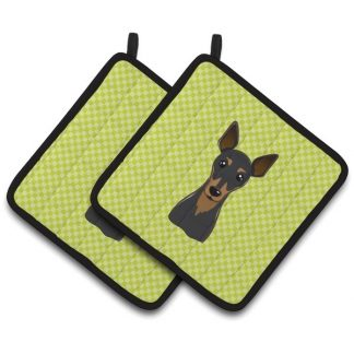 Miniature Pinscher Pot Holders - Green (Pair)