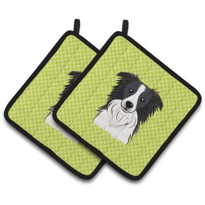 Border Collie Pot Holders - Green (Pair)
