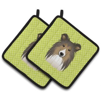 Shetland Sheepdog Pot Holders - Green (Pair)
