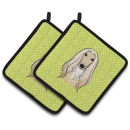 Afghan Hound Pot Holders - Green (Pair)