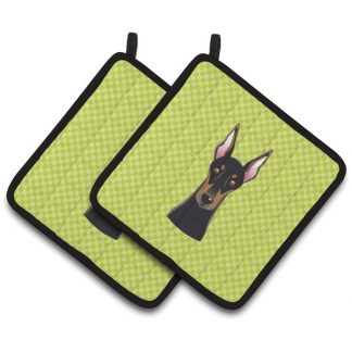 Doberman Pinscher Pot Holders - Green (Pair)