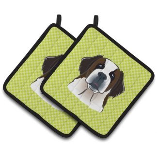 Saint Bernard Pot Holders - Green (Pair)
