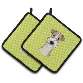 Wire Fox Terrier Pot Holders - Green (Pair)