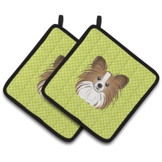 Papillon Pot Holders - Green (Pair)