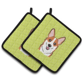 Corgi Pot Holders (Red) - Green (Pair)