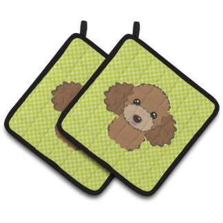 Chocolate Poodle Pot Holders - Green (Pair)