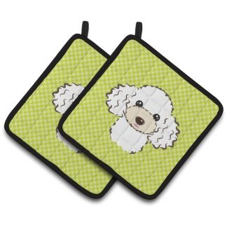 White Poodle Pot Holders - Green (Pair)