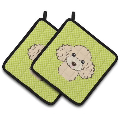 Apricot Poodle Pot Holders - Green (Pair)
