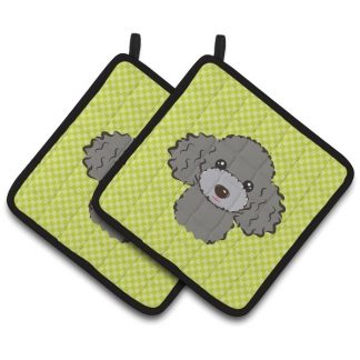 Silver Poodle Pot Holders - Green (Pair)