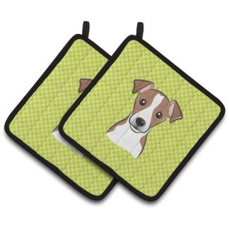 Jack Russell Terrier Pot Holders - Green (Pair)