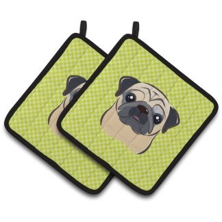 Pug Pot Holders - Green (Pair)