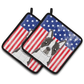 Boston Terrier Pot Holders - USA (Pair)