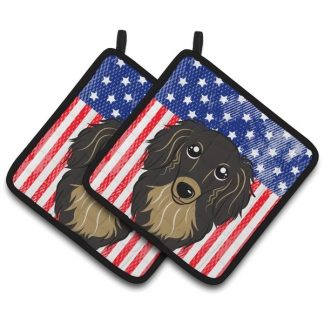 Longhaired Dachshund Pot Holders (Black Tan) - USA (Pair)