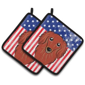 Longhaired Dachshund Pot Holders (Red) - USA (Pair)
