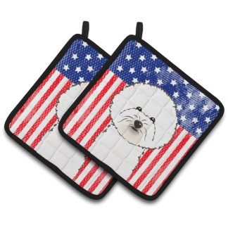 Bichon Frise Pot Holders - USA (Pair)