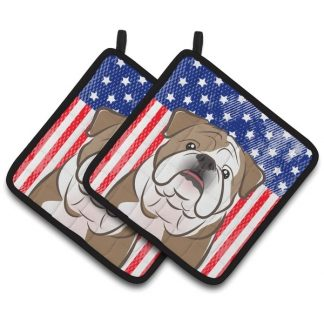 Bulldog Pot Holders - USA (Pair)
